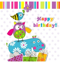 Scrapbook birthday greeting card vector