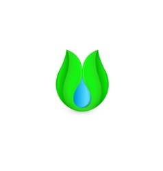Isolated abstract blue water drop in green leaf vector