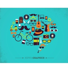 Hipster speech bubble with icons vector image