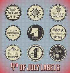 Retro fourth of july labels and icons vector