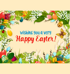 Easter egg and flower greeting card design vector