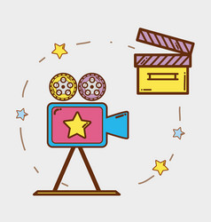 video camera with clapper board and filmstrips vector image