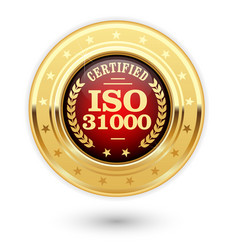 Iso 31000 certified medal - risk management vector