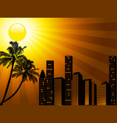 Tropical city sunset with palm tree vector
