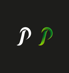 Capital letter p logo green gradient style vector