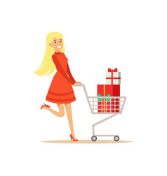 Happy woman in a red dress walking with a shopping vector