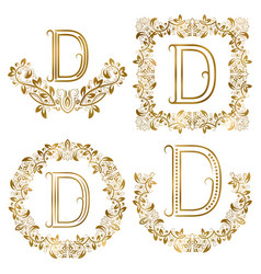 Golden d letter ornamental monograms set heraldic vector