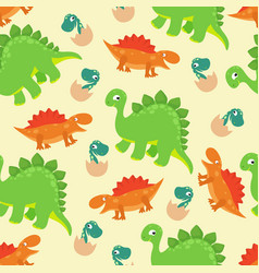 Cartoon baby dinosaur seamless pattern for vector