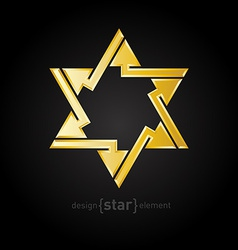 Abstract design element golden star with arrows on vector