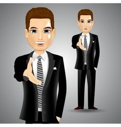 Businessman extending right hand for handshake vector