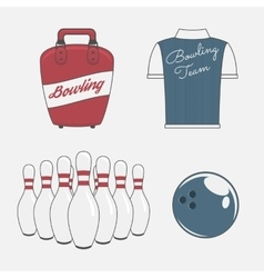 Elements set for a bowling team vector