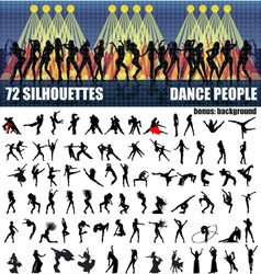 Big set of silhouettes of dancing people vector