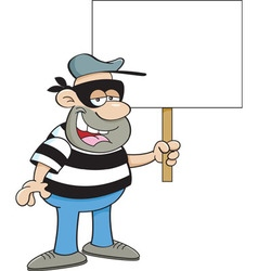 Cartoon criminal holding a sign vector