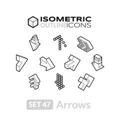 Isometric outline icons set 47 vector