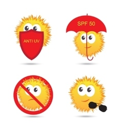 Set of uv sun protection and anti uv cartoon icons vector