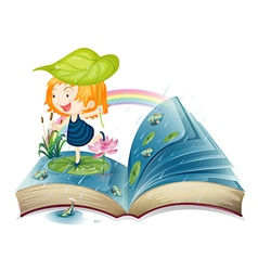 A book with an image of a girl at the pond vector