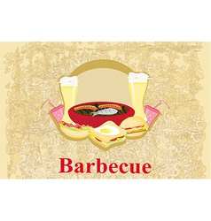 Barbecue party - vintage invitation vector