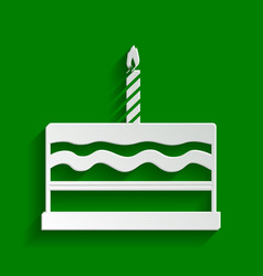 Birthday cake sign paper whitish icon vector