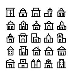 Buildings and furniture icons 1 vector