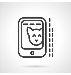 Cat photo in phone simple line icon vector