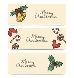 Christmas horizontal banners wintage drawings vector