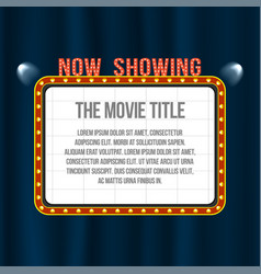 cinema signboard on blue curtain with spotlights vector image