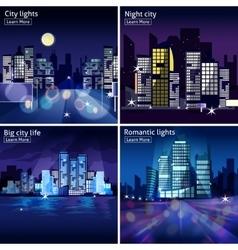 City Nightscape Icon Set vector image vector image