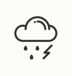 cloud sky rain storm line simple icon weather vector image