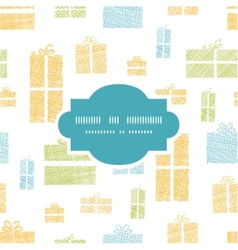 Colorful gift boxes textile texture frame seamless vector image