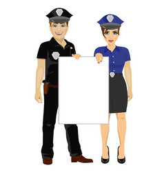 couple of police people holding empty blank board vector image vector image