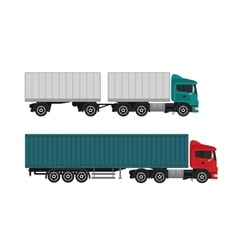 Delivery shipping cargo trucks and semi-trucks vector