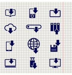 Different devices downloading line sketch icons vector