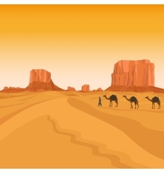 Egypt sahara desert with camels vector