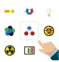 Flat icon knowledge set of irradiation danger vector