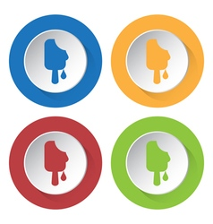 four round color icons melting stick ice cream vector image