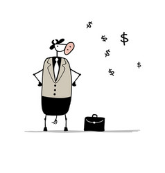 funny bull businessman with suitcase sketch vector image vector image