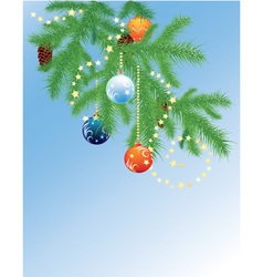 Fur tree branch with balls vector