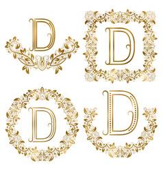 golden d letter ornamental monograms set heraldic vector image vector image