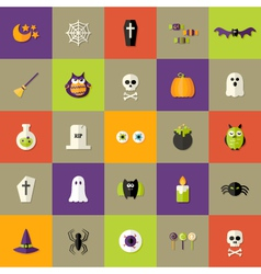 Halloween Square Flat Icons Set vector image