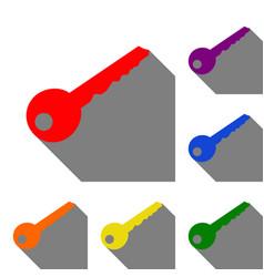 Key sign set of red orange yellow vector