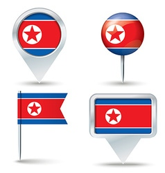 Map pins with flag of north korea vector