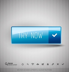 Modern button TRY NOW with icons set vector image vector image