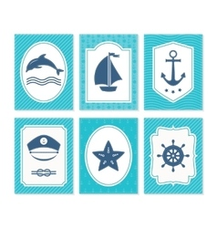 Nautical and sea cards badges and labels vector