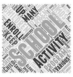 Need for after school activities word cloud vector