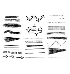 Pencil stroke set Sketch design vector image vector image