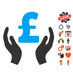 Pound care hands icon with dating bonus vector