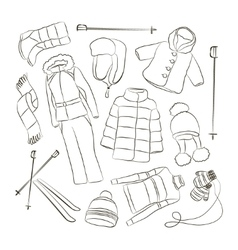 Set of warm winter clothes design vector