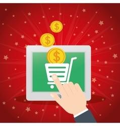 Shopping online tablet cart virtual coin vector