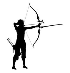 silhouette attractive female archer bending a bow vector image vector image