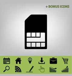 Sim card sign black icon at gray vector